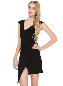 Black V Neck Asymmetrical Bodycon Dress