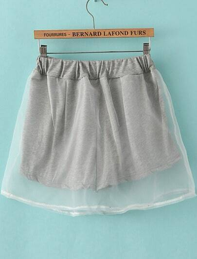 Grey Contrast Gauze Layered Short Skirt