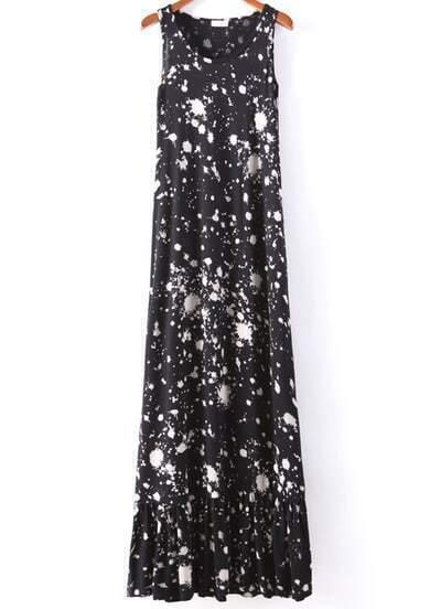 Black Sleeveless Random Galaxy Spots Print Dress
