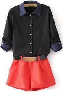 Black Half Sleeve Blouse With Orange Shorts
