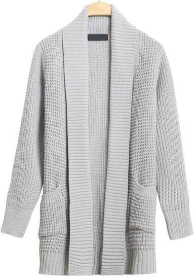 Grey Shawl Collar Long Sleeve Cardigan