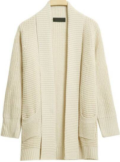 Beige Shawl Collar Long Sleeve Cardigan