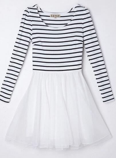 Vestido rayas combinado gasa manga larga-blanco
