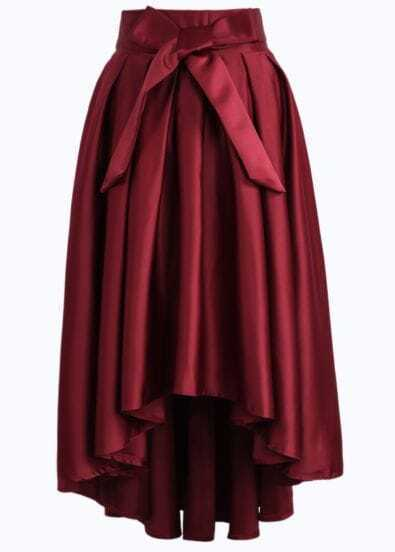 Wine Red Bow High Low Pleated Skirt