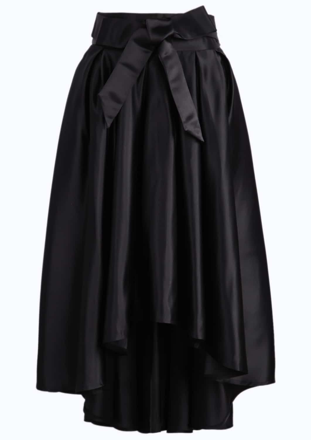 black bow high low pleated skirt shein sheinside