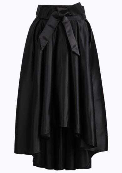 Black Bow High Low Pleated Skirt
