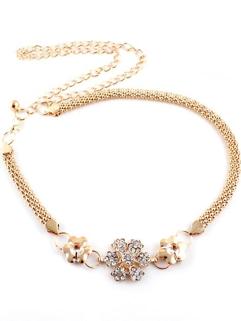 Фото Gold Diamond Flower Chain Belt. Купить с доставкой