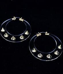 Gold Rivet Sheer Circle Earrings