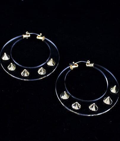 Gold Rivet Sheer Circle Earrings