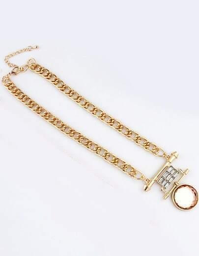 White Round Gemstone Gold Chain Necklace