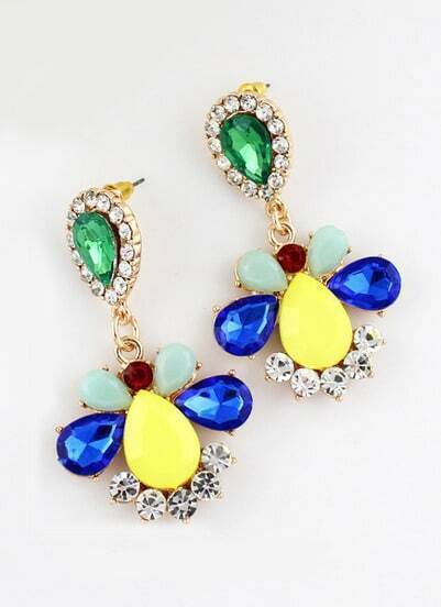 Multicolor Drop Gemstone Gold Earrings
