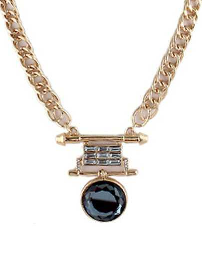 Black Round Gemstone Gold Chain Necklace