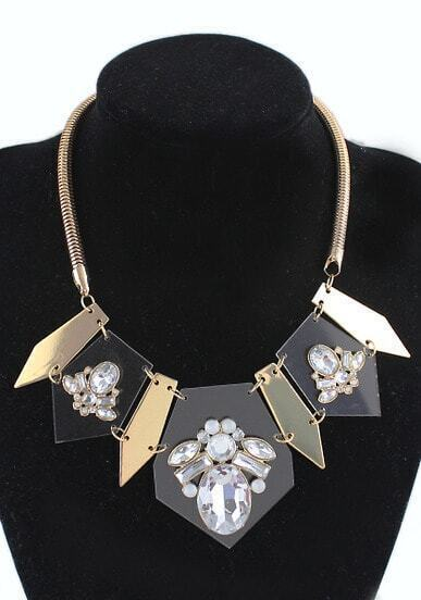White Gemstone Gold Geometric Necklace