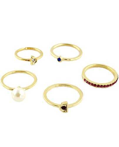 Multicolor Gemstone Pearl Gold Five Fingers Ring