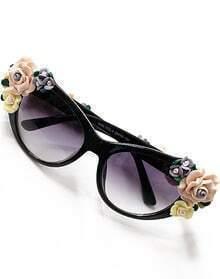 Black Flower Embellished Sunglasses