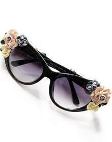 Purple Lenses Black Flower Embellished Sunglasses