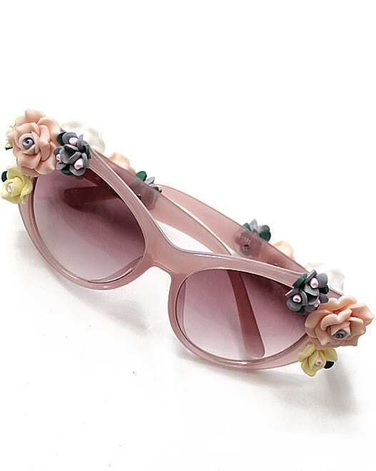 Pink Lenses Black Flower Embellished Sunglasses
