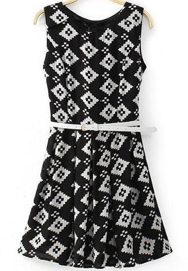 Black Sleeveless Geometric Print Chiffon Dress