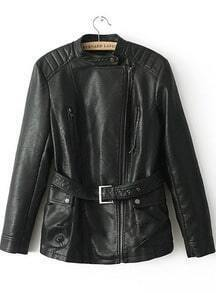 Black Long Sleeve Zipper Belt PU Leather Jacket