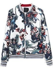 White Long Sleeve Zipper Floral Jacket