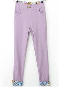 Purple Contrast Floral Pockets Pant