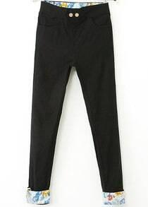Black Contrast Floral Pockets Pant