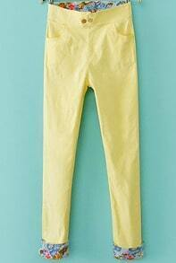 Yellow Contrast Floral Pockets Pant