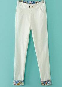 White Contrast Floral Pockets Pant