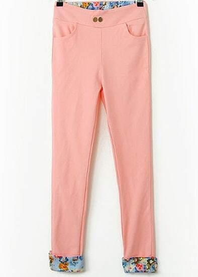 Pink Contrast Floral Pockets Pant