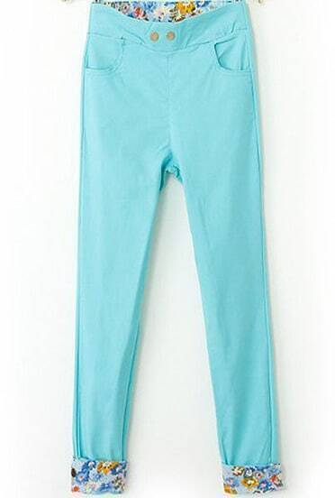 Blue Contrast Floral Pockets Pant
