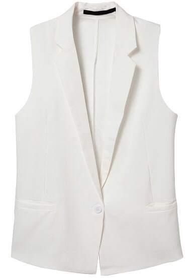 White Notch Lapel Sleeveless Contrast Chiffon Blazer