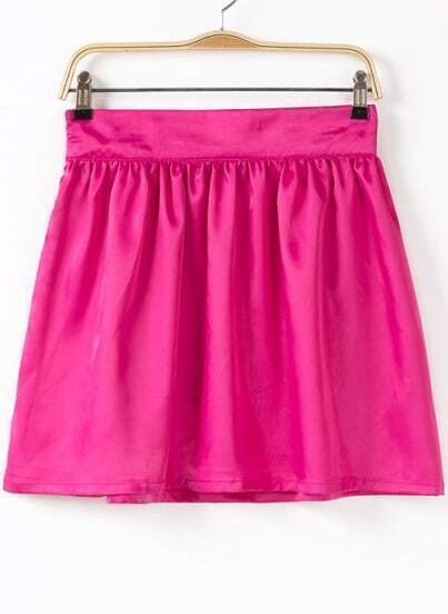 Rose Red Pleated Flare Skirt