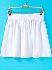 White Pleated Flare Skirt