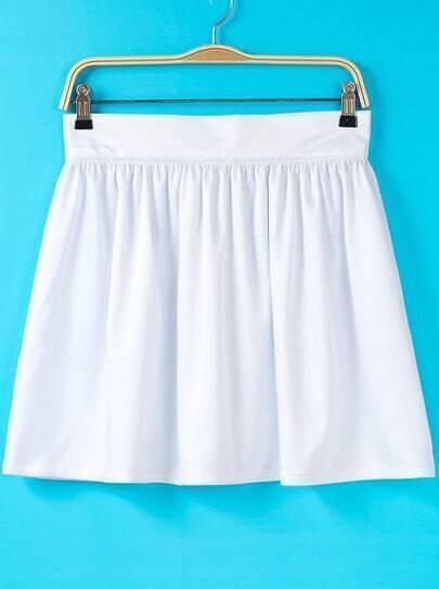 White Pleated Flare Skirt