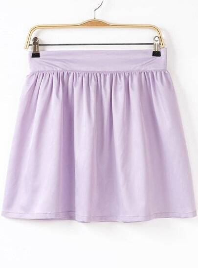 Light Purple Pleated Flare Skirt