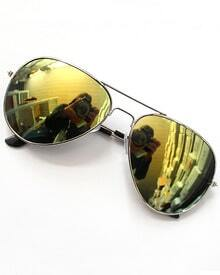 Yellow Lenses Silver Thin Rim Sunglasses