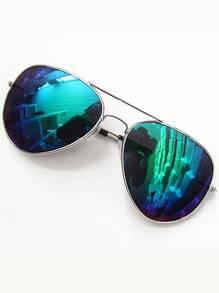 Blue Lenses Silver Thin Rim Sunglasses -SheIn(Sheinside)