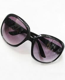 Purple Lenses Black Round Sunglasses