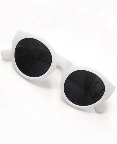 Black Lenses White Round Sunglasses