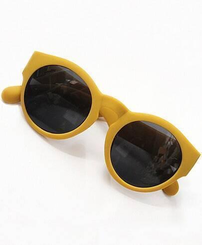 Black Lenses Yellow Round Sunglasses