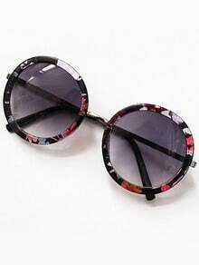 Purple Round Lenses Floral Sunglasses