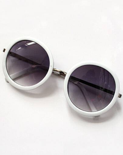 White Round Lenses Floral Sunglasses
