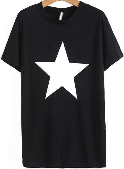 Black Short Sleeve Star Print Loose T-Shirt