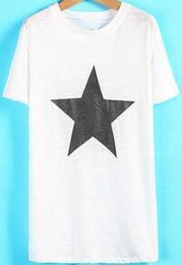 White Short Sleeve Star Print Loose T-Shirt