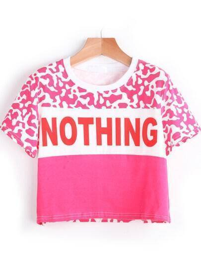 Pink Dairy Cow NOTHING Pattern Crop T-Shirt