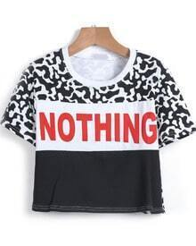 Black Dairy Cow NOTHING Pattern Crop T-Shirt