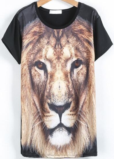 Black Short Sleeve Lion Print Loose T-Shirt