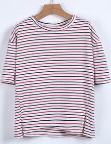 Red White Striped Short Sleeve Loose T-Shirt