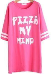 Rose Red Short Sleeve Letters Print Loose T-Shirt