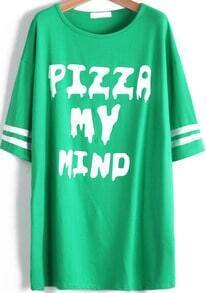 Green Short Sleeve Letters Print Loose T-Shirt